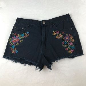 Urban Outfitters BDG black embroidered denim short